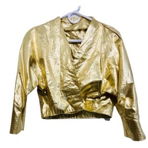 Vtg Gold Lamé Handmade Cropped Crossover Jacket S